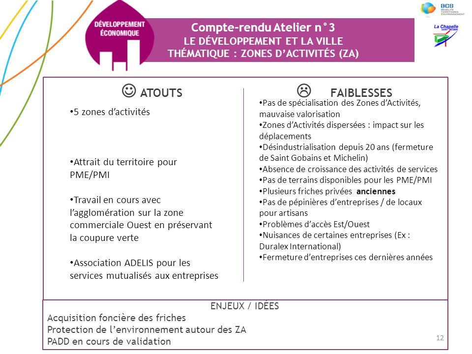 Compte-rendu Atelier n°3 LE DÉVELOPPEMENT ET LA VILLE THÉMATIQUE : ZONES D'ACTIVITÉS (ZA)