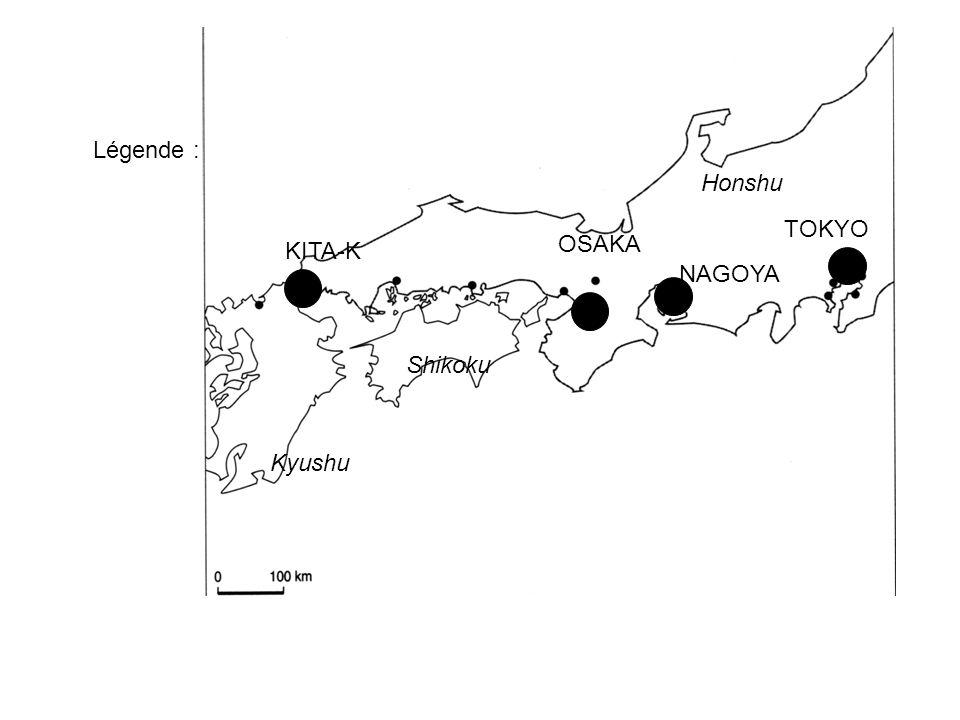 Légende : Honshu TOKYO OSAKA KITA-K NAGOYA Shikoku Kyushu