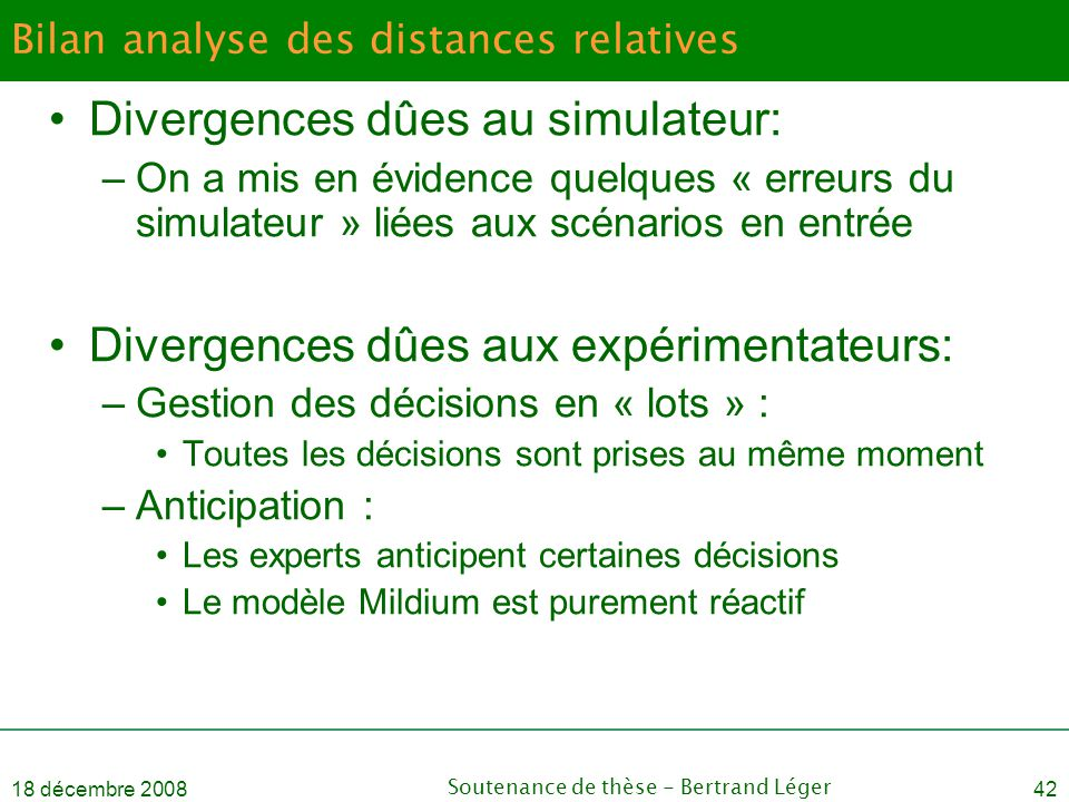 Bilan analyse des distances relatives