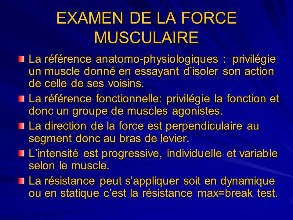 EXAMEN DE LA FORCE MUSCULAIRE