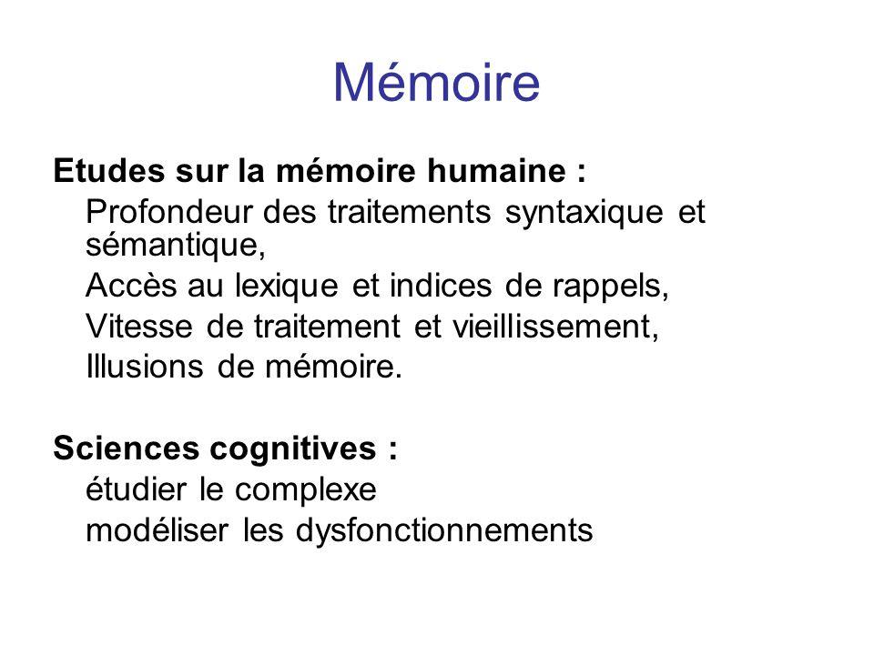 Mémoire Etudes sur la mémoire humaine :