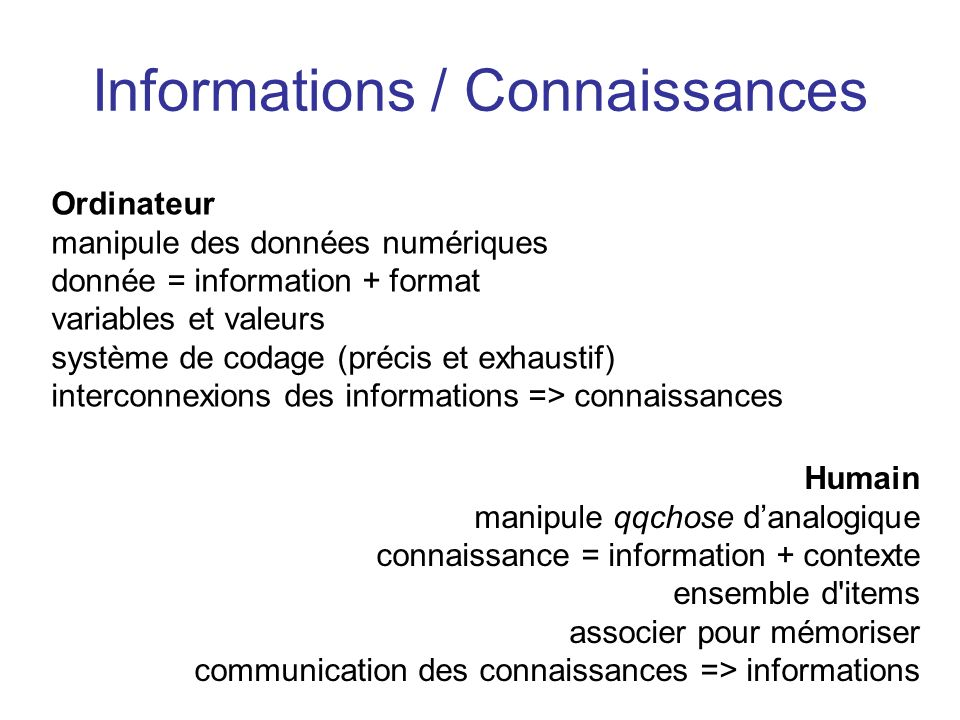 Informations / Connaissances
