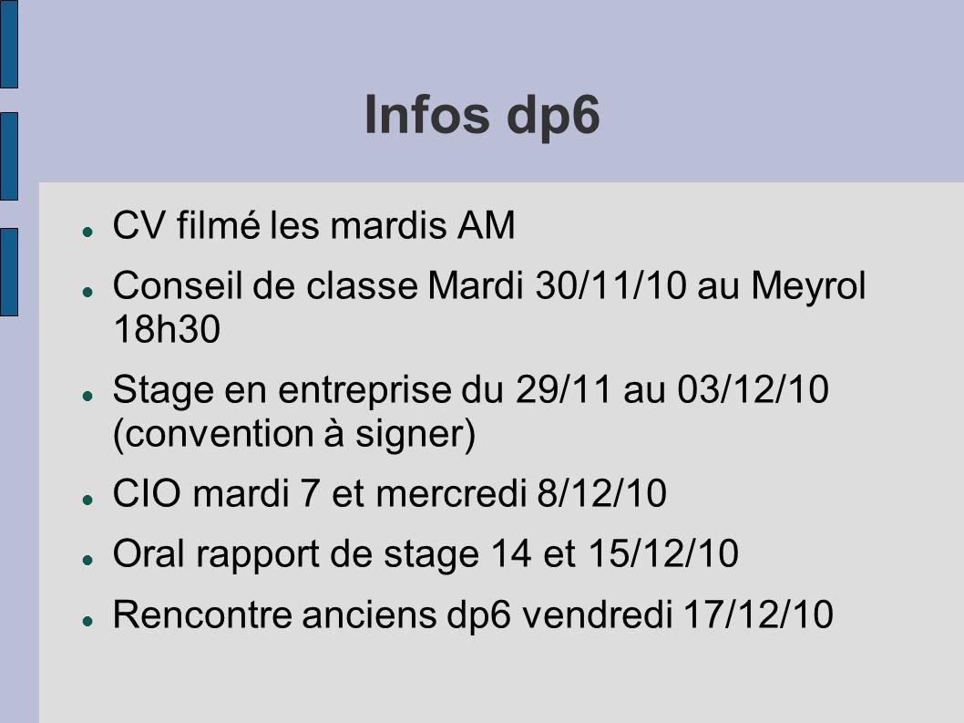 Infos dp6 CV filmé les mardis AM