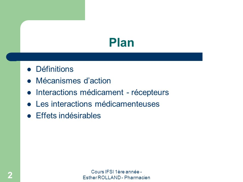 Cours IFSI 1ère année - Esther ROLLAND - Pharmacien