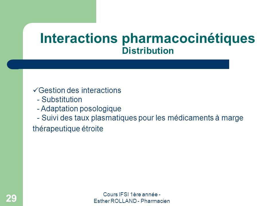 Interactions pharmacocinétiques Distribution