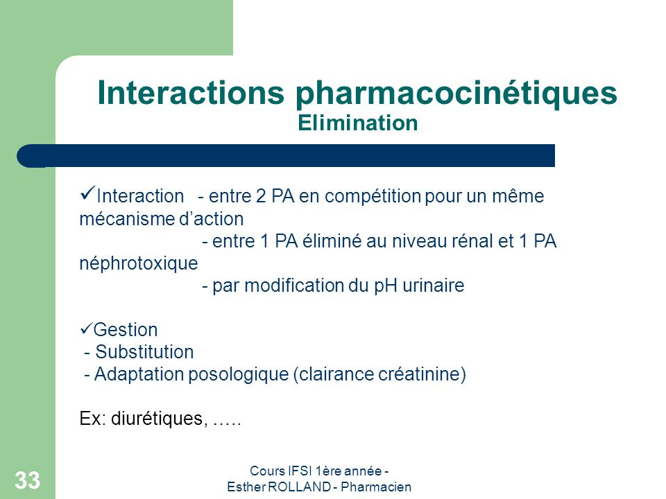 Interactions pharmacocinétiques Elimination