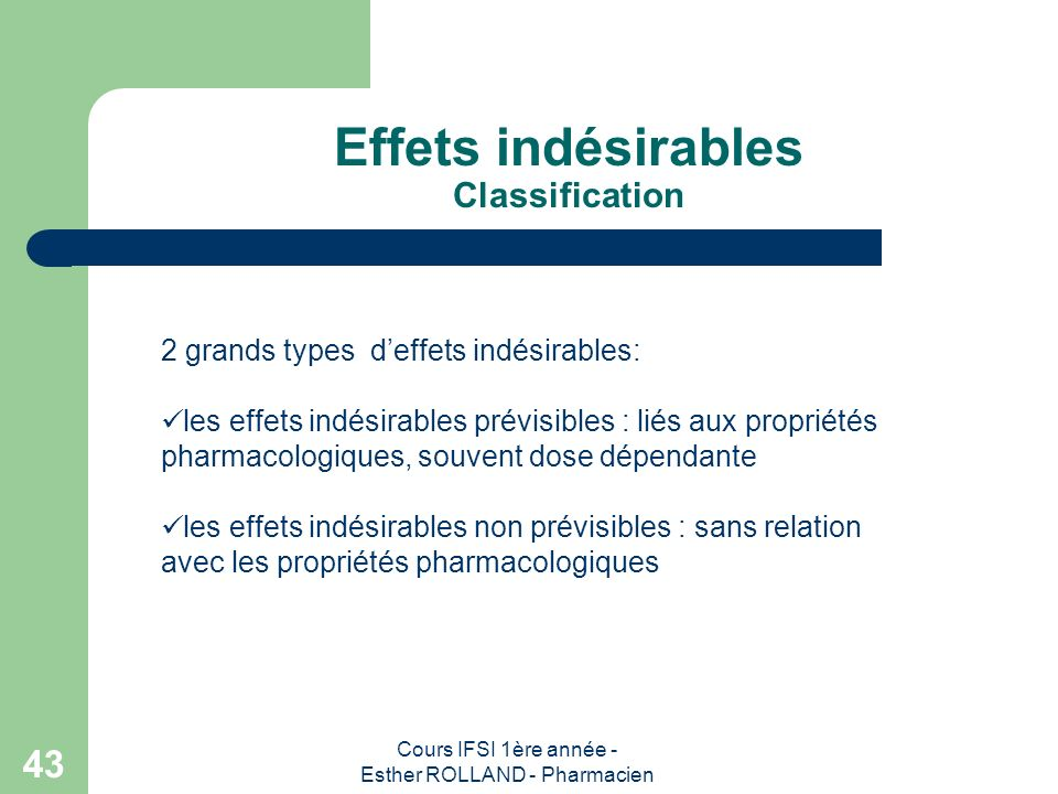 Effets indésirables Classification