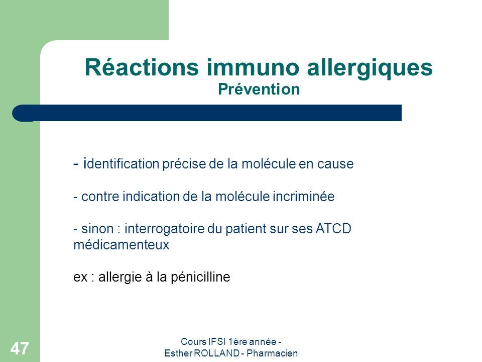 Réactions immuno allergiques Prévention