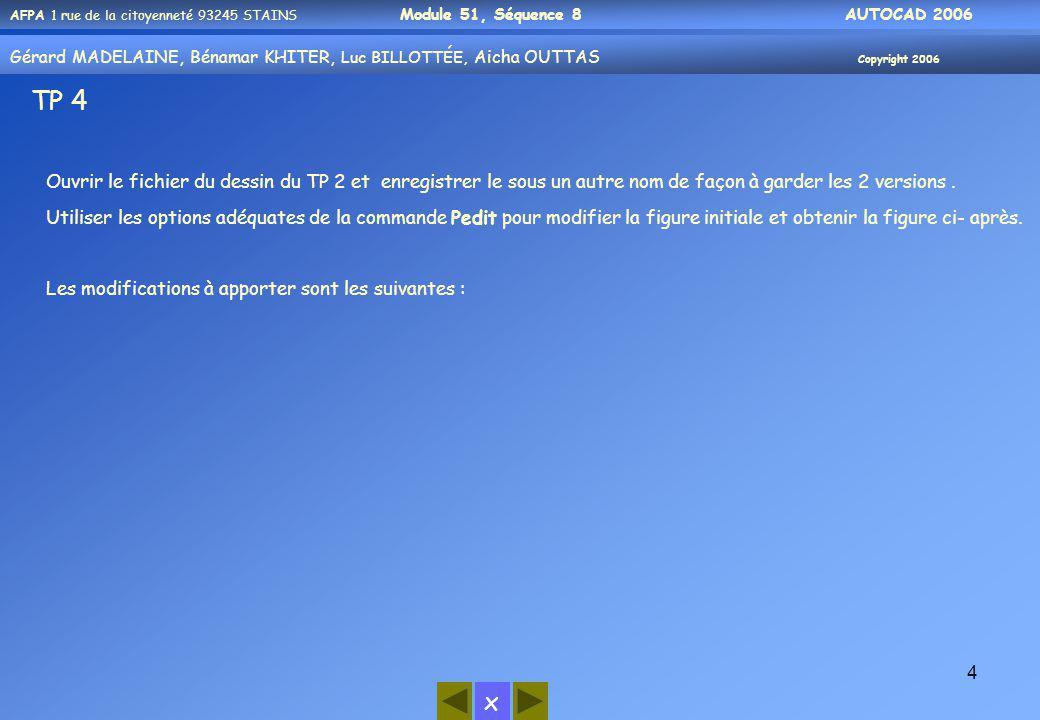 TP 4 Ouvrir le fichier du dessin du TP 2 et enregistrer le sous un autre nom de façon à garder les 2 versions .