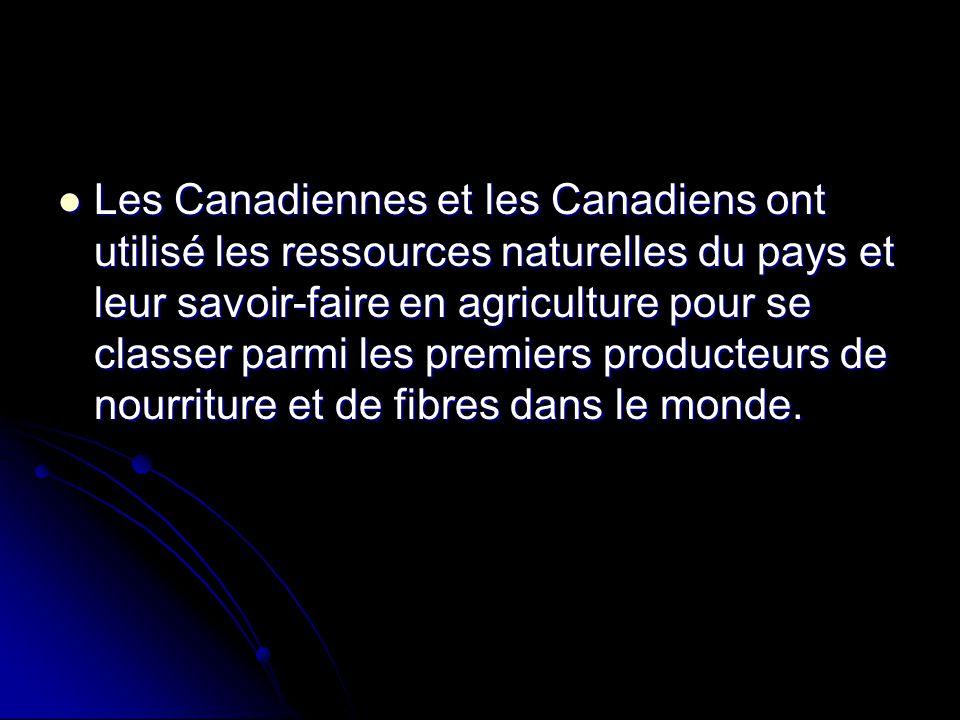 Les Canadiennes et les Canadiens ont utilisé les ressources naturelles du pays et leur savoir-faire en agriculture pour se classer parmi les premiers producteurs de nourriture et de fibres dans le monde.