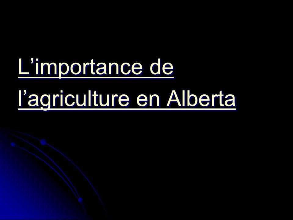 L'importance de l'agriculture en Alberta