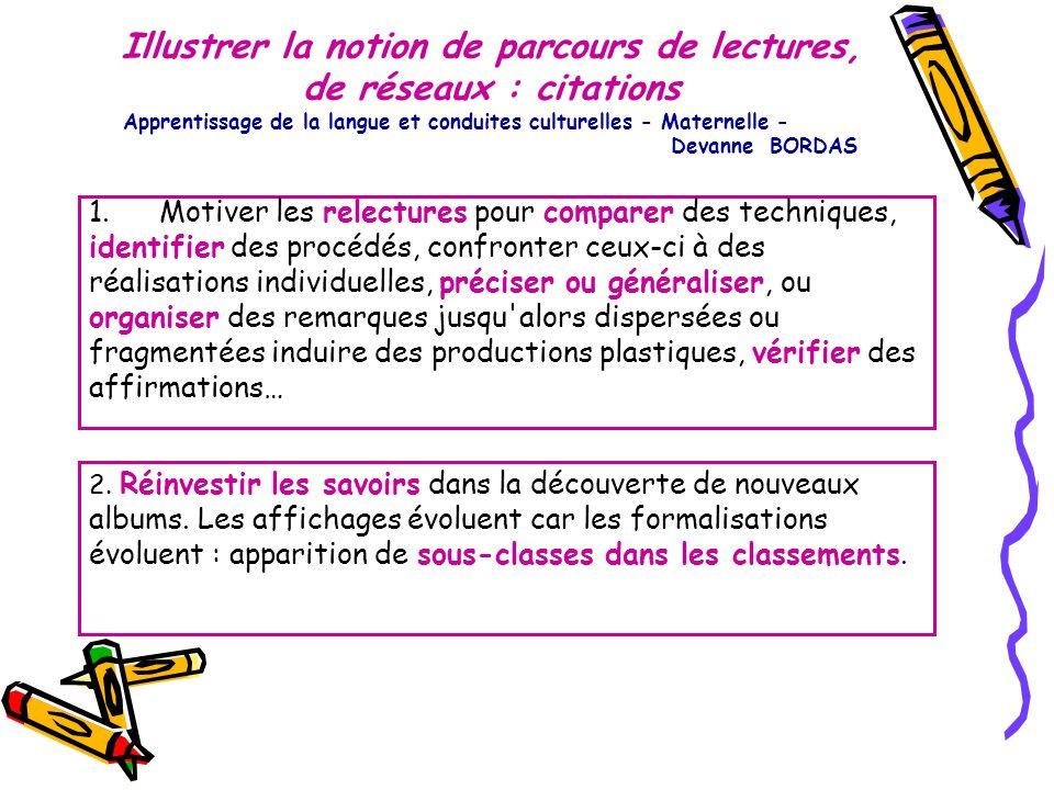 Illustrer la notion de parcours de lectures, de réseaux : citations Apprentissage de la langue et conduites culturelles - Maternelle - Devanne BORDAS