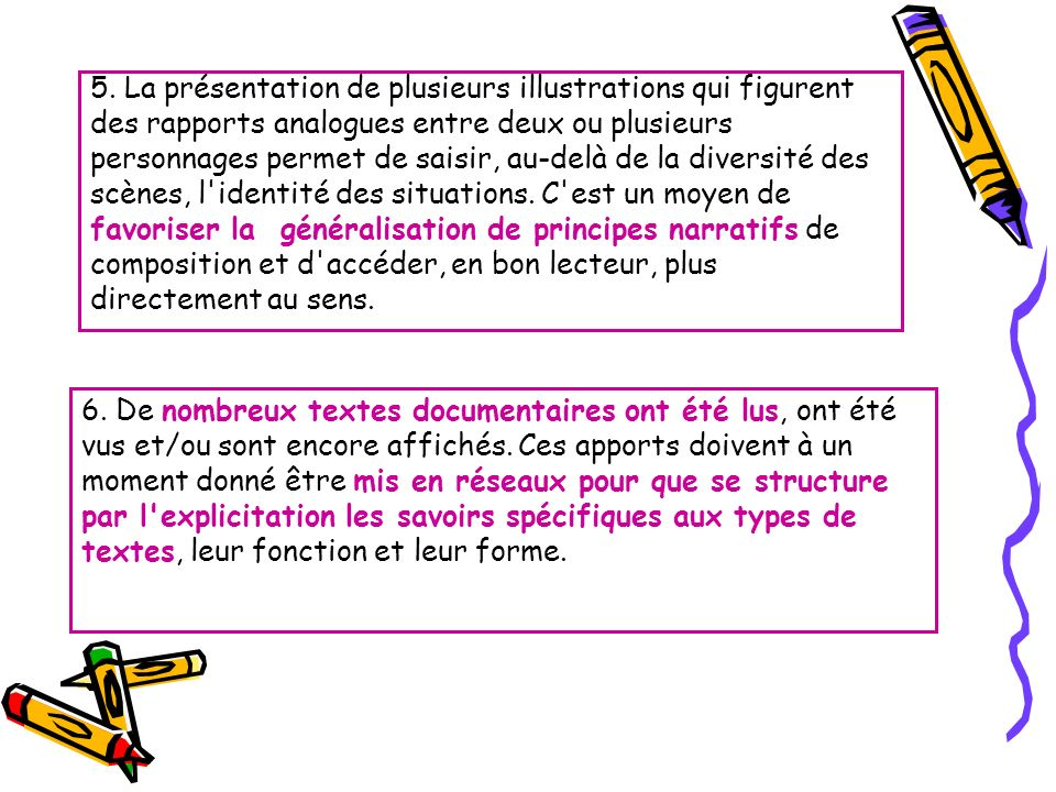 5. La présentation de plusieurs illustrations qui figurent