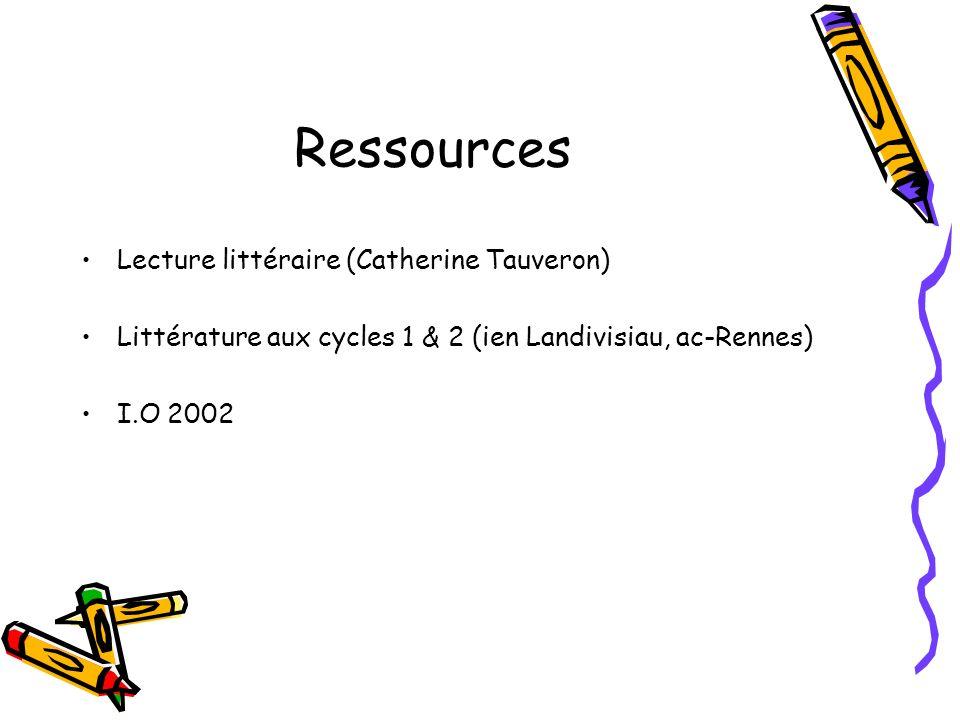 Ressources Lecture littéraire (Catherine Tauveron)