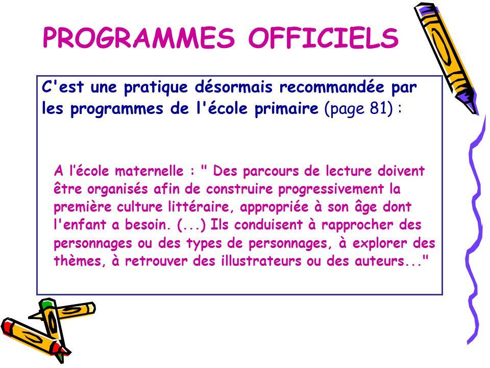 PROGRAMMES OFFICIELS C est une pratique désormais recommandée par