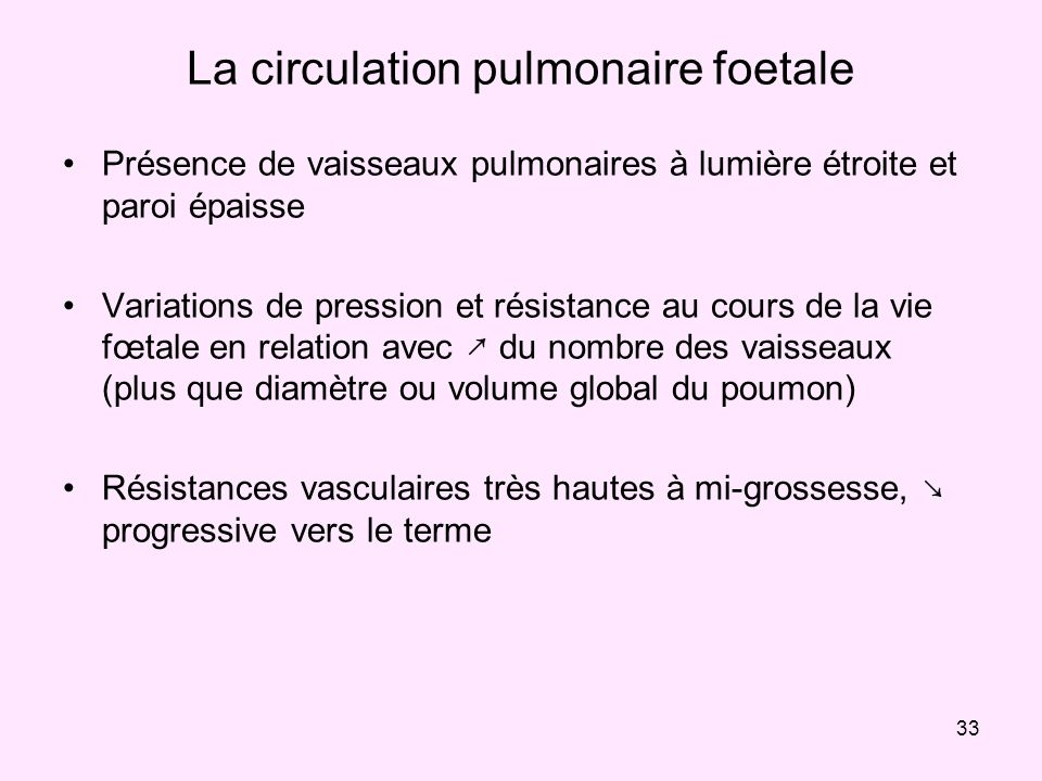 La circulation pulmonaire foetale