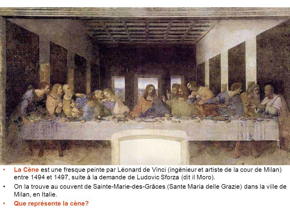 Elle représente le dernier repas du Chris (Jésus) avec ses apôtres lors de l'annonce d'un traître, Judas, qui n'est pas présent sur la peinture. Remarquez que le personnage situé à la sixième position à partir de la gauche est une femme. Il s'agirait de Marie-Madeleine, la femme de Jésus