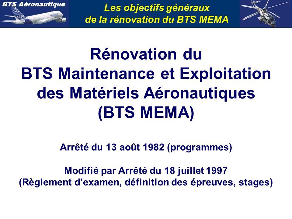 Les objectifs généraux de la rénovation du BTS MEMA