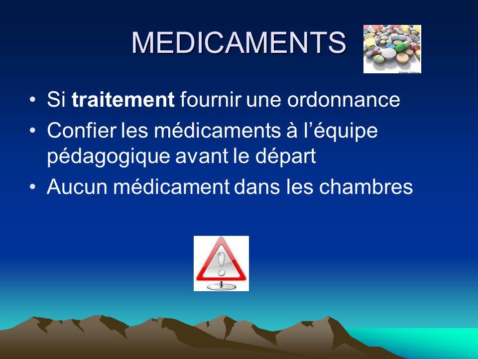 MEDICAMENTS Si traitement fournir une ordonnance