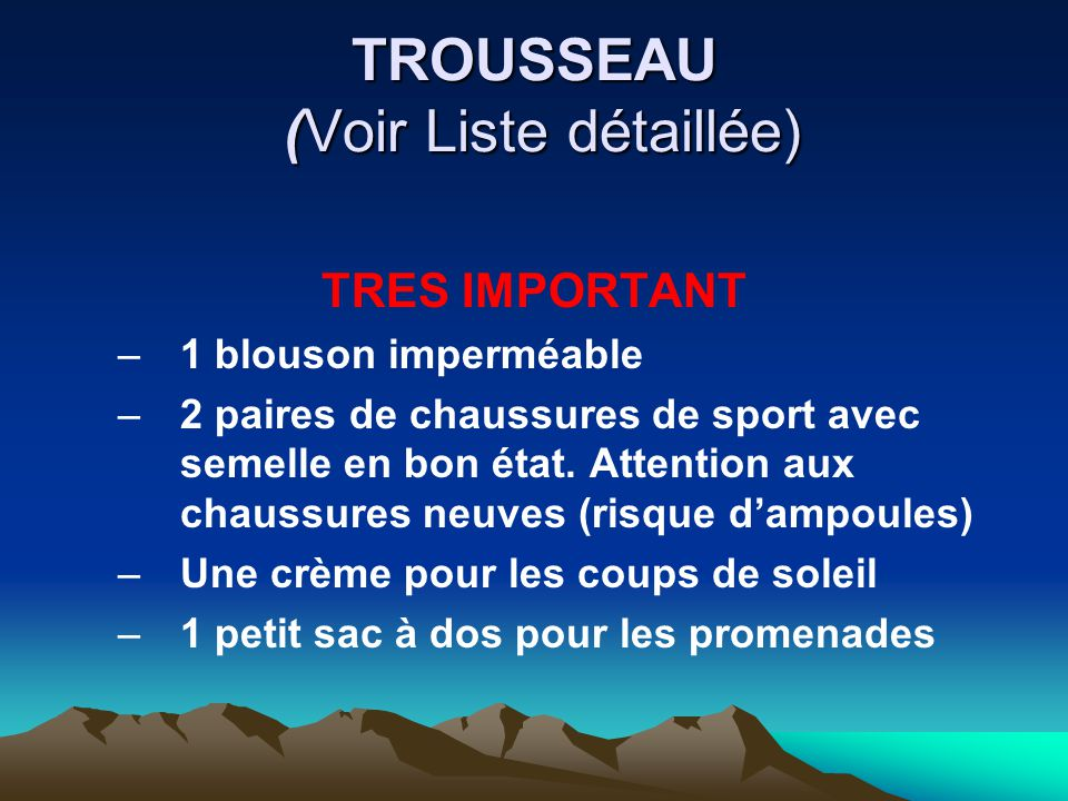 TROUSSEAU (Voir Liste détaillée)