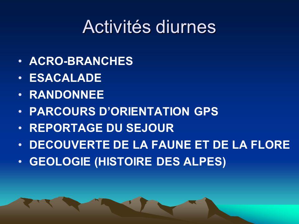 Activités diurnes ACRO-BRANCHES ESACALADE RANDONNEE