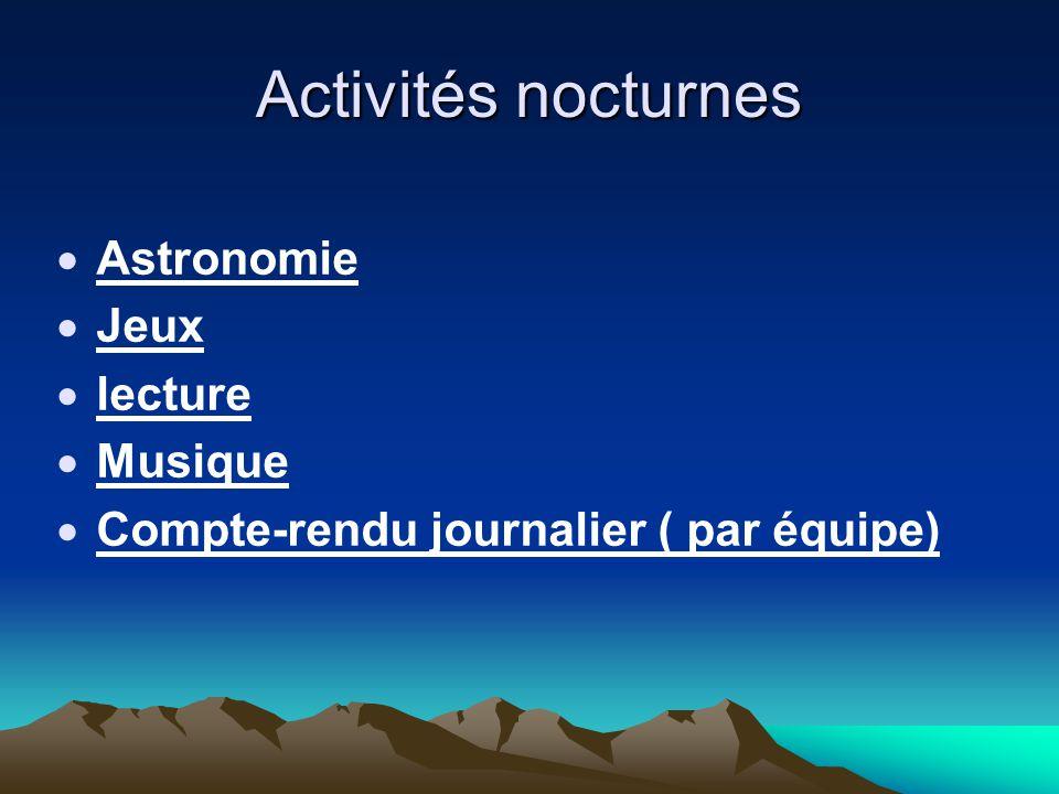 Activités nocturnes Astronomie Jeux lecture Musique
