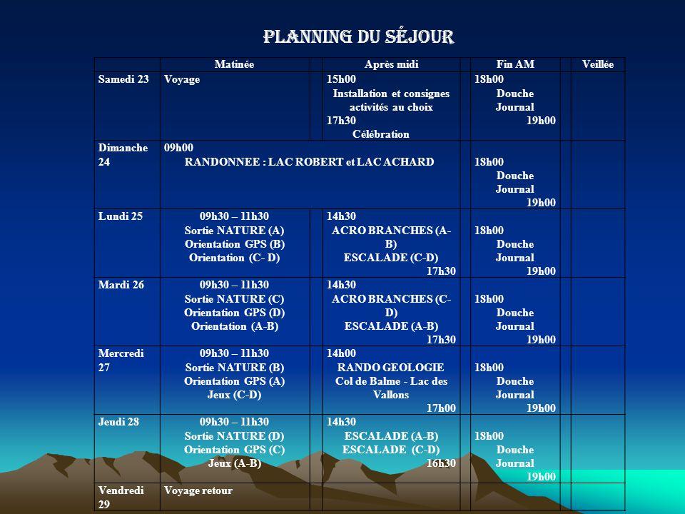 Planning du séjour Matinée Après midi Fin AM Veillée Samedi 23 Voyage