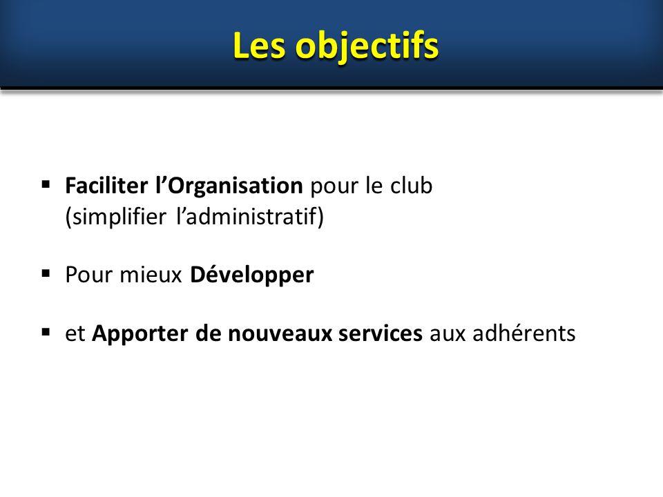Les objectifs Faciliter l'Organisation pour le club (simplifier l'administratif) Pour mieux Développer.