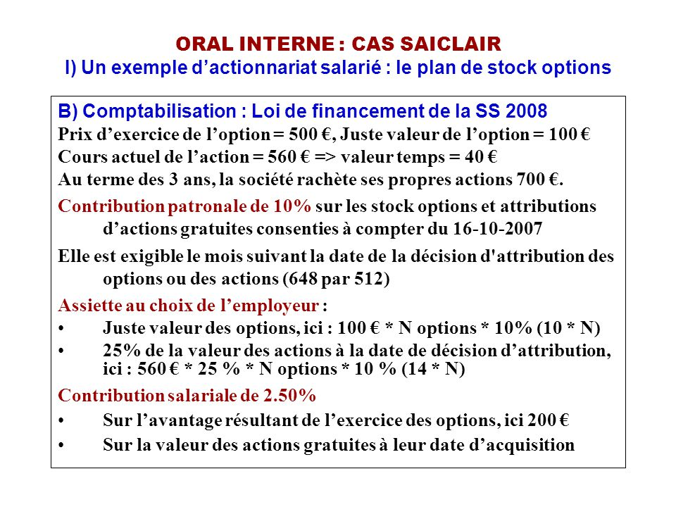 Prix d'attribution de stock options