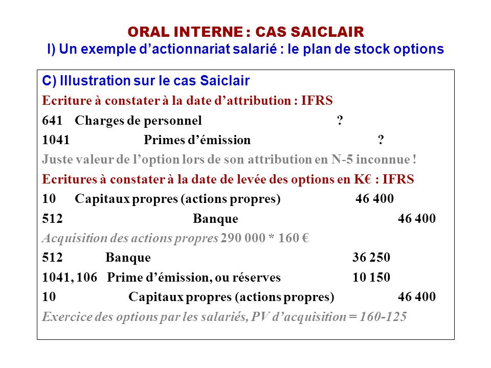 ORAL INTERNE : CAS SAICLAIR I) Un exemple d'actionnariat salarié : le plan de stock options