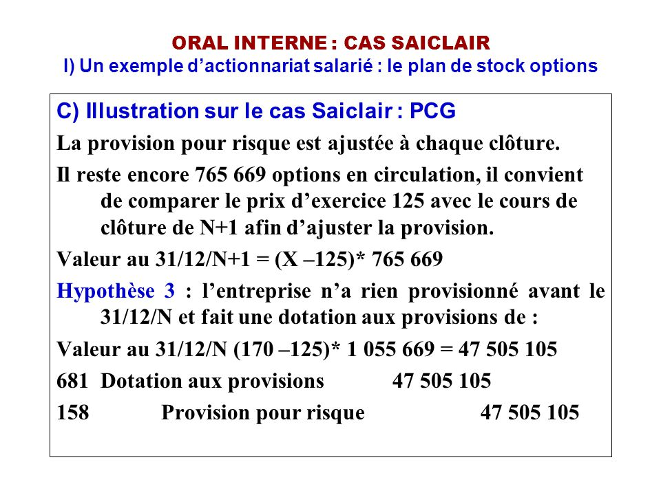 C) Illustration sur le cas Saiclair : PCG