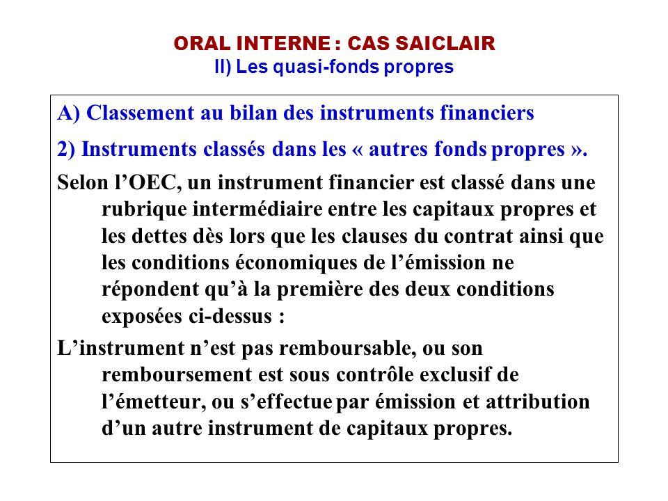 ORAL INTERNE : CAS SAICLAIR II) Les quasi-fonds propres