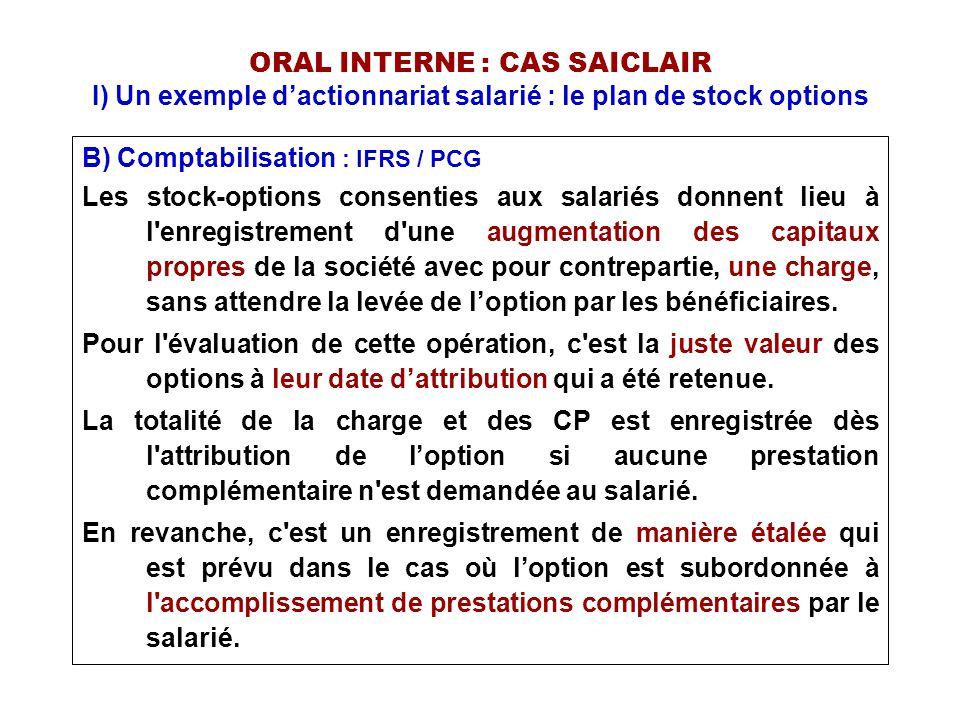 Comptabilisation des stock-options en france