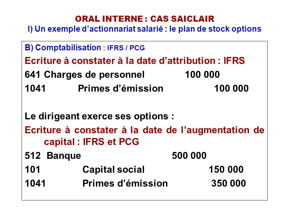 Ecriture à constater à la date d'attribution : IFRS