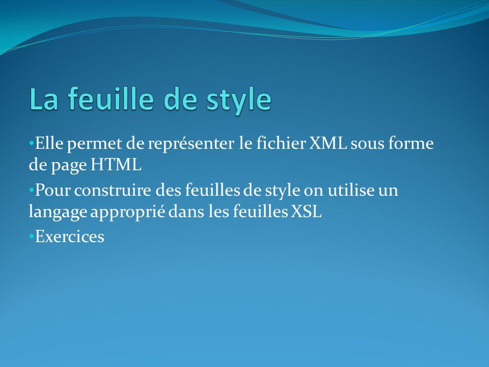 La feuille de style Elle permet de représenter le fichier XML sous forme de page HTML.