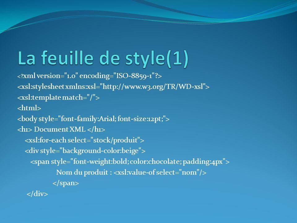La feuille de style(1) < xml version= 1.0 encoding= ISO-8859-1 > <xsl:stylesheet xmlns:xsl= http://www.w3.org/TR/WD-xsl >