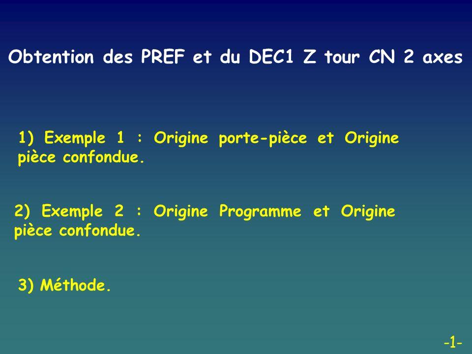 Obtention des PREF et du DEC1 Z tour CN 2 axes