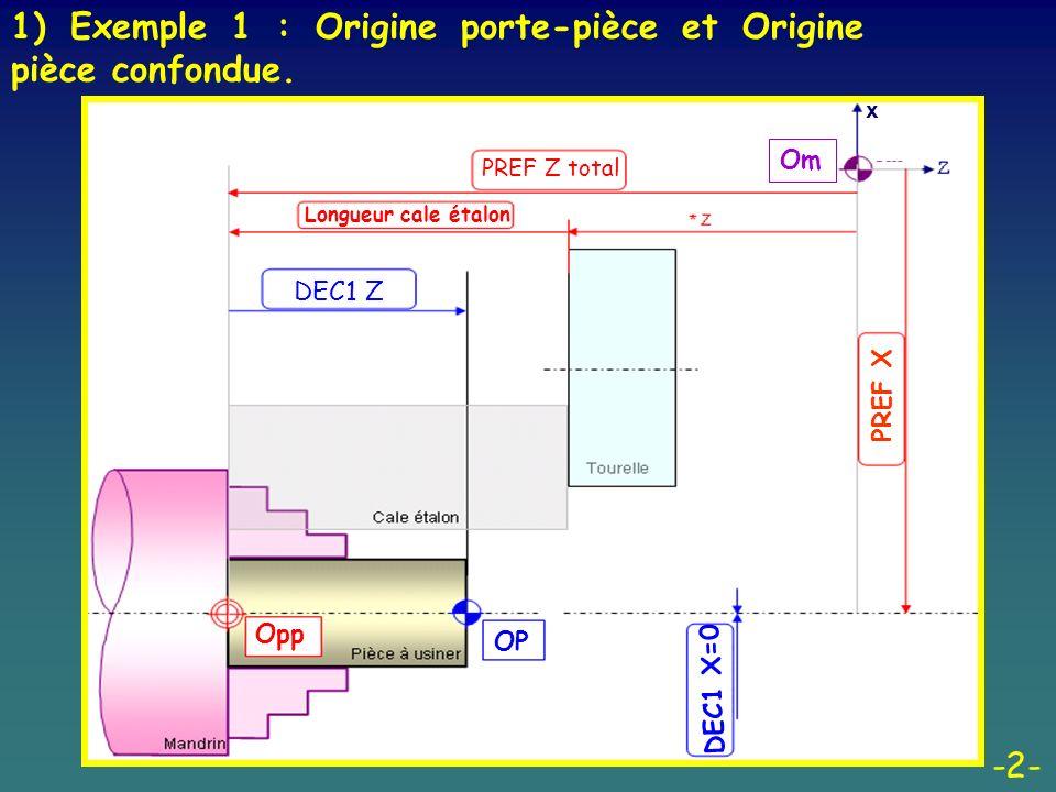 1) Exemple 1 : Origine porte-pièce et Origine pièce confondue.