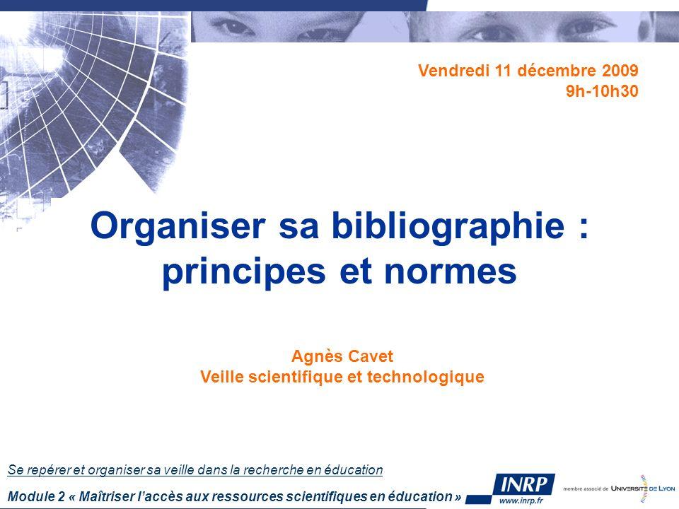 Organiser sa bibliographie : principes et normes