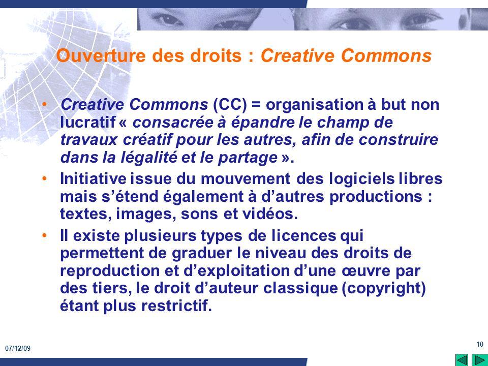 Ouverture des droits : Creative Commons