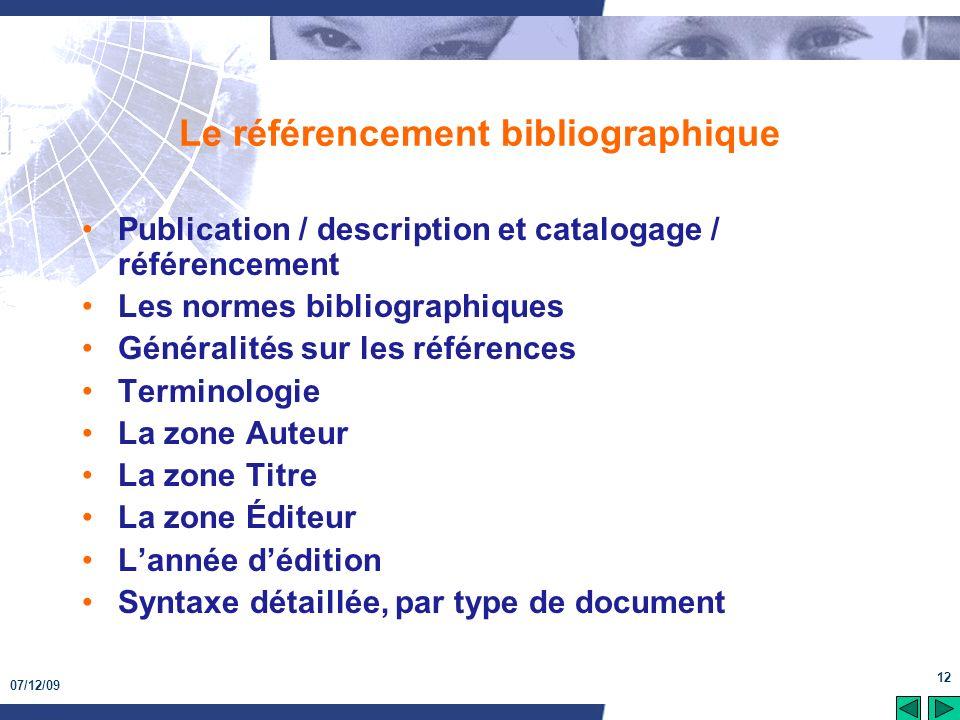 Le référencement bibliographique