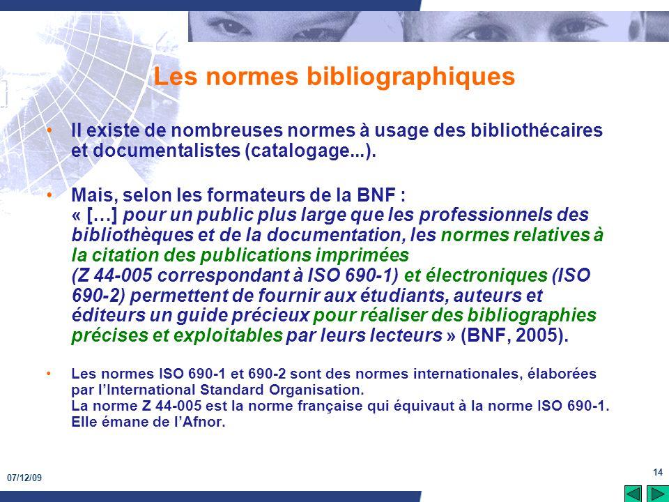 Les normes bibliographiques