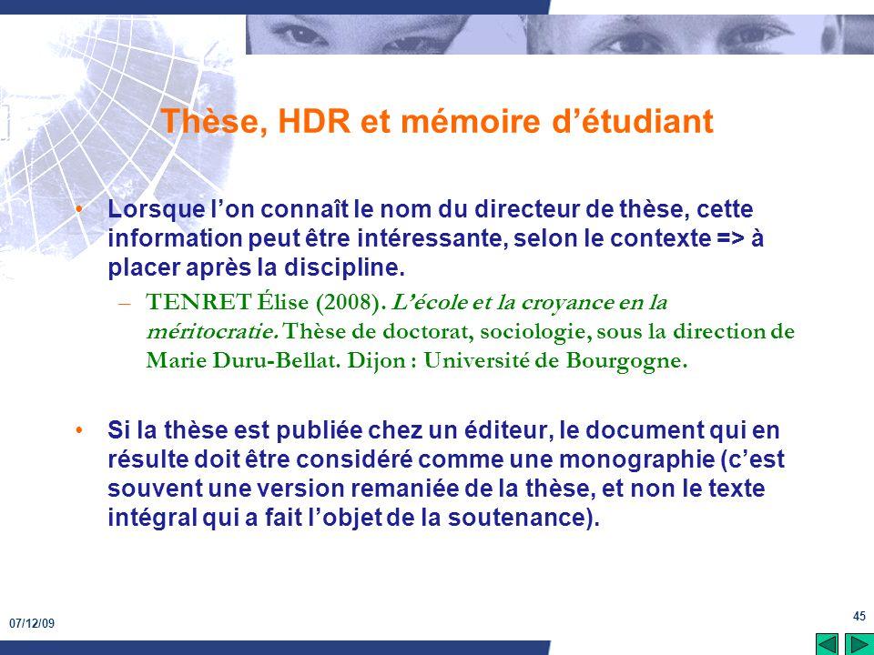 Thèse, HDR et mémoire d'étudiant