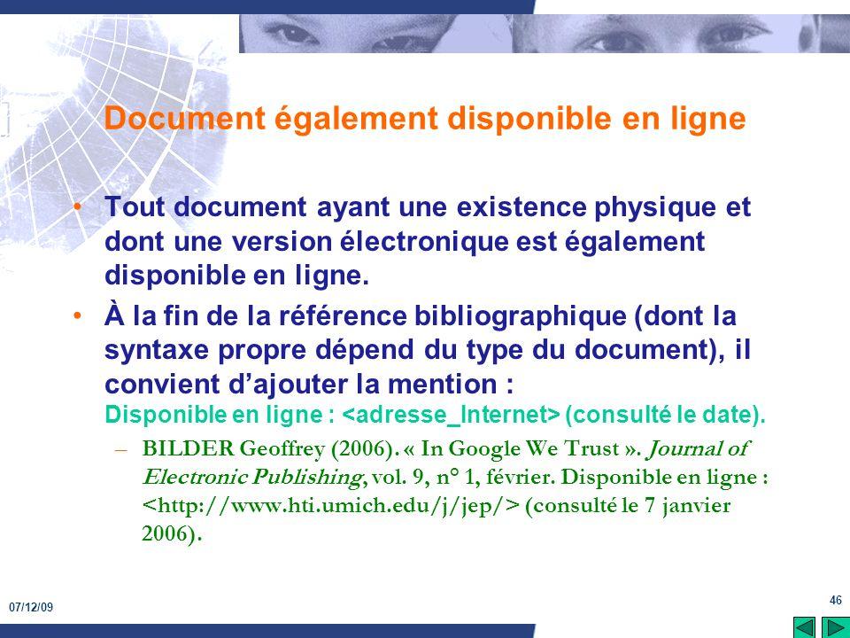 Document également disponible en ligne
