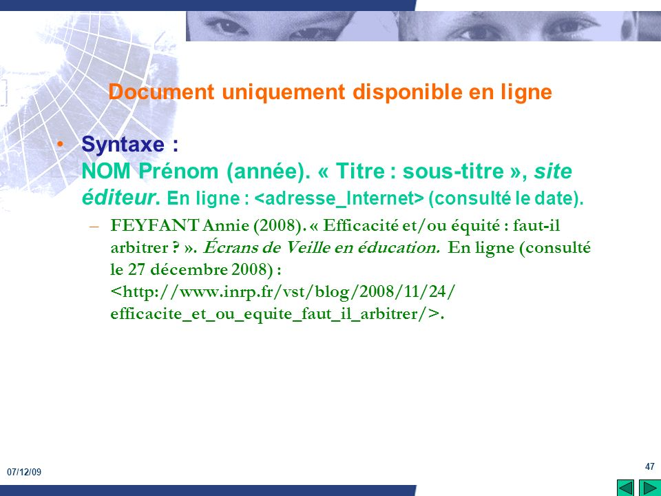 Document uniquement disponible en ligne