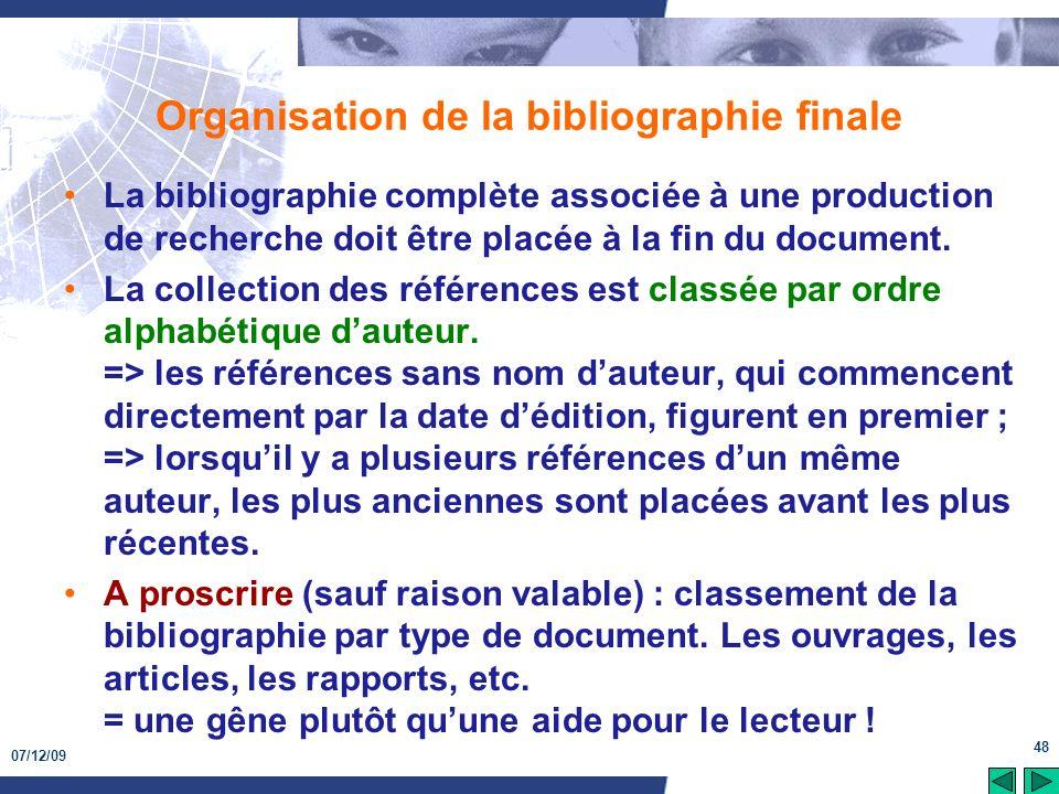 Organisation de la bibliographie finale