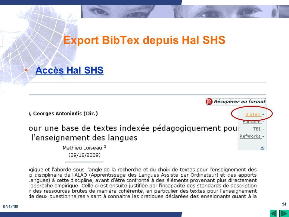 Export BibTex depuis Hal SHS