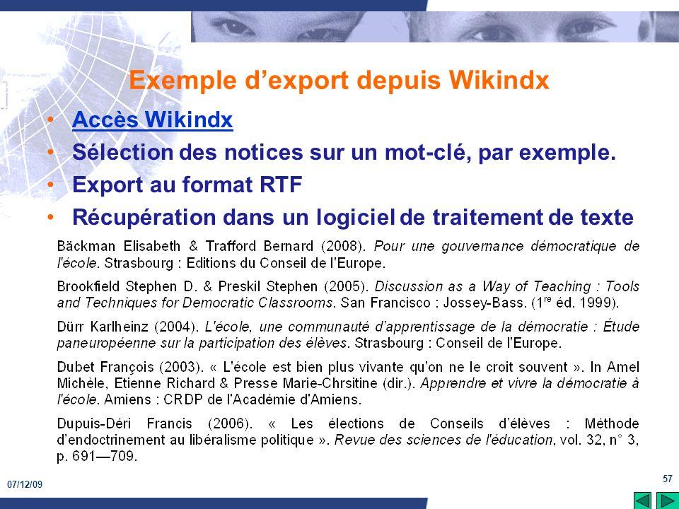 Exemple d'export depuis Wikindx