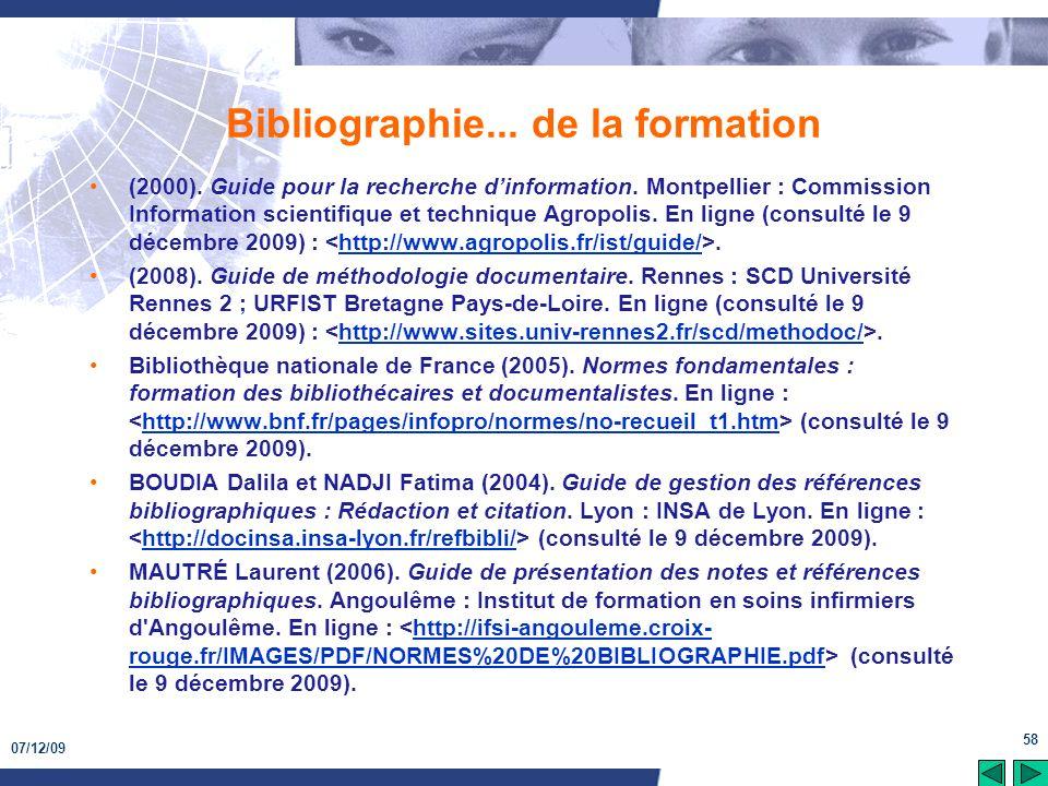 Bibliographie... de la formation