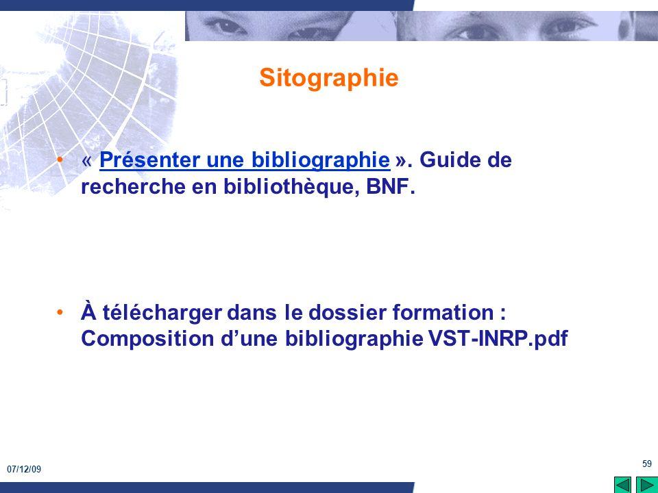 Sitographie « Présenter une bibliographie ». Guide de recherche en bibliothèque, BNF.